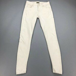 MOTHER Looker 26 Jeans Skinny Distressed Cream
